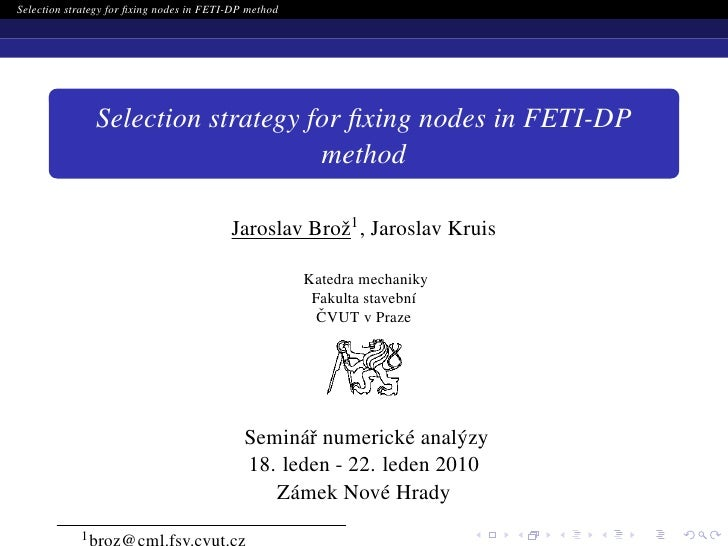 Selection strategy for fixing nodes in FETI-DP method                     Selection strategy for fixing nodes in FETI-DP    ...