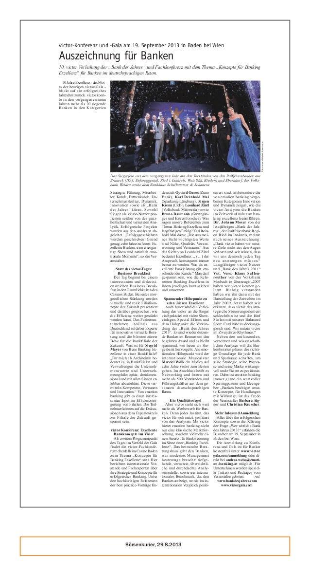 Börsenkurier, 29.8.2013 2013 FINANZDIENSTLEISTER SEITE 25 victor-Konferenz und -Gala am 19. September 2013 in Baden bei Wi...