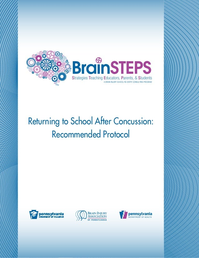 Returning to School After Concussion:       Recommended Protocol