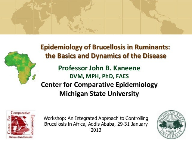 Epidemiology of Brucellosis in Ruminants:the Basics and Dynamics of the DiseaseProfessor John B. KaneeneDVM, MPH, PhD, FAE...