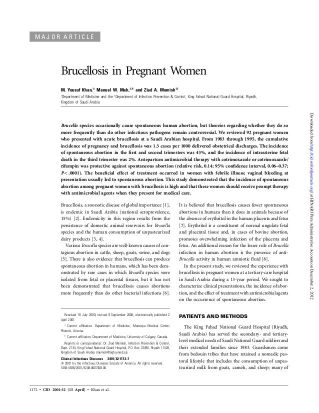 1172 • CID 2001:32 (15 April) • Khan et al. M A J O R A R T I C L E Brucellosis in Pregnant Women M. Yousuf Khan,1a Manuel...