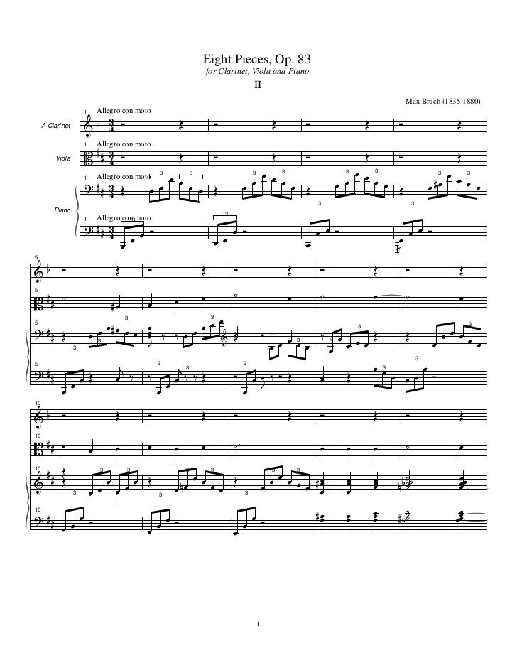 Eight Pieces, Op. 83                                                                          for Clarinet, Viola and Pian...