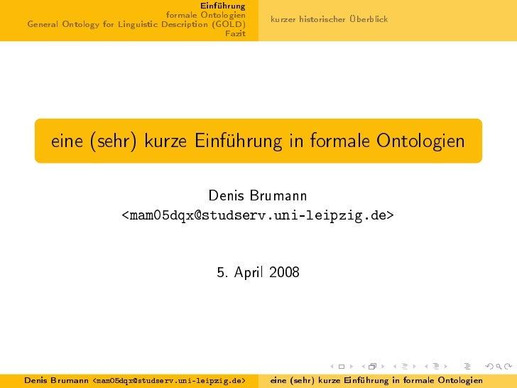 Eine (sehr) kurze Einführung in formale Ontologien