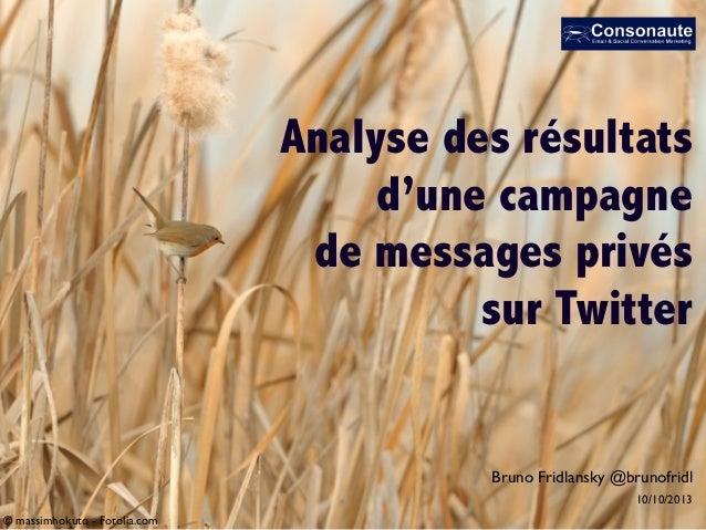 Analyse des résultats d'une campagne de messages privés sur Twitter © massimhokuto - Fotolia.com 10/10/2013 Bruno Fridlans...
