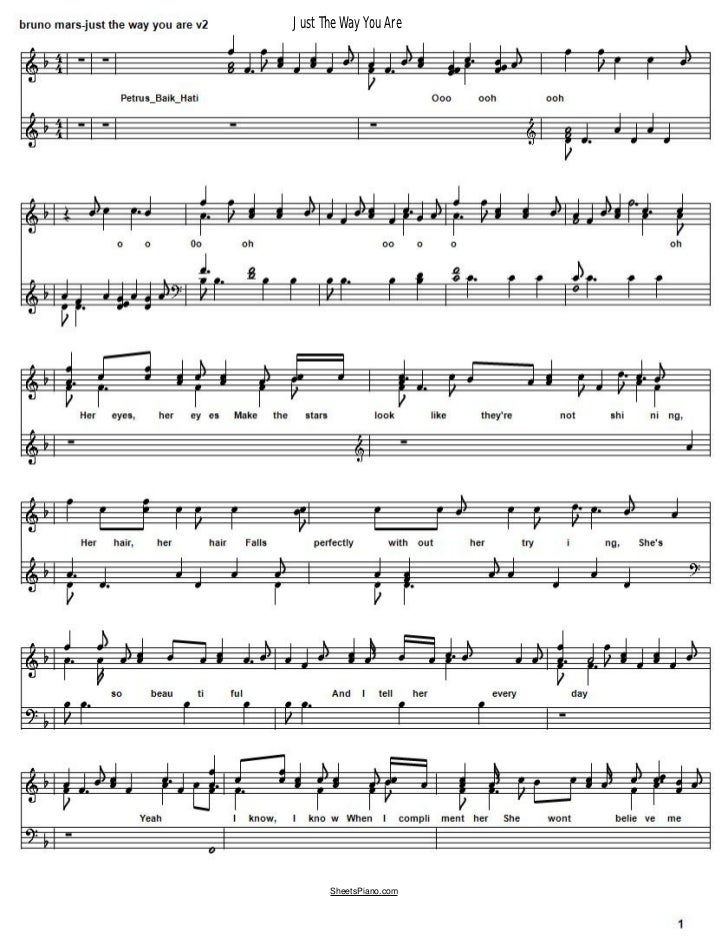 Bruno Mars Just the Way You Are free music sheets