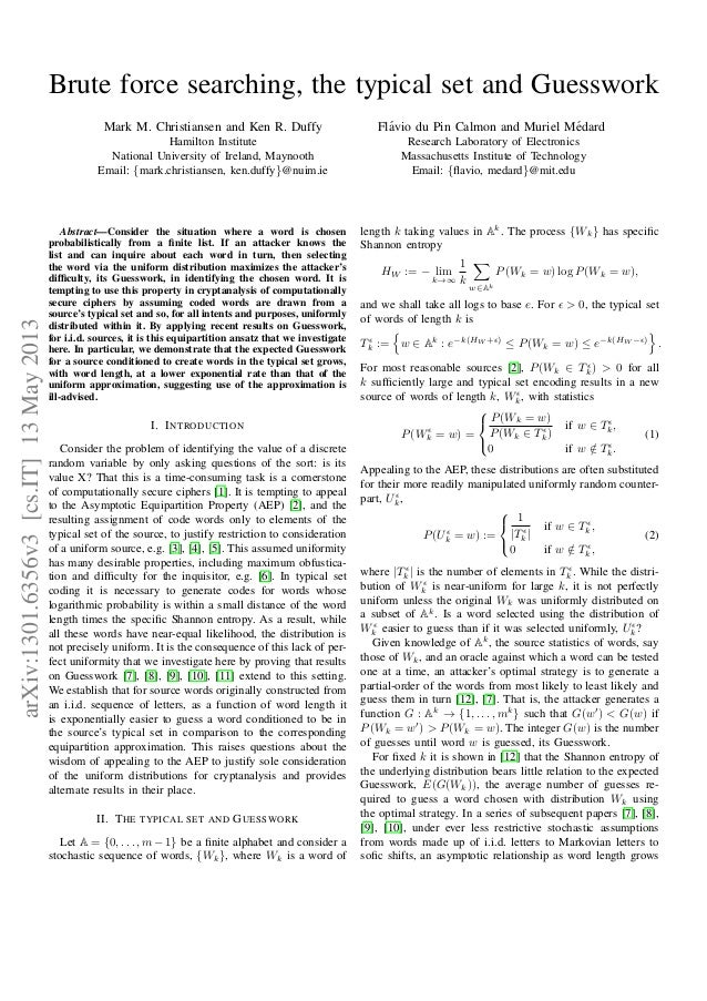 Brute force searching, the typical set and Guesswork Mark M. Christiansen and Ken R. Duffy Hamilton Institute National Uni...