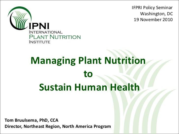 Nourishing Plants and People Bruulsema 19 Nov 10