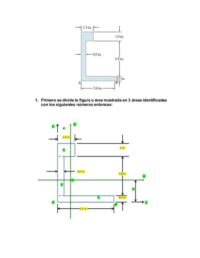 1. Primero se divide la figura o área mostrada en 3 áreas identificadas con los siguientes números entonces:  !!  !! !! 1,...