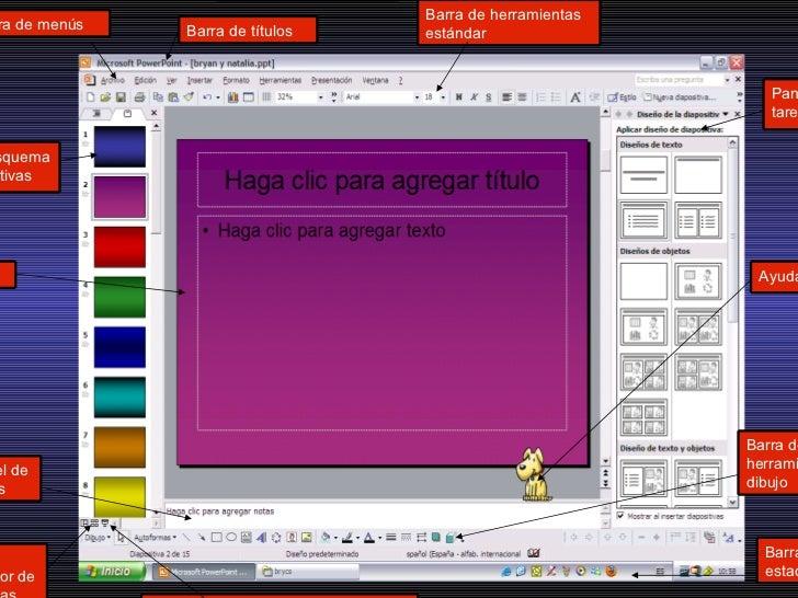 Barra de menús Panel de notas Vista clasificador de diapositivas Barra de herramientas dibujo Barra de títulos Barra de es...
