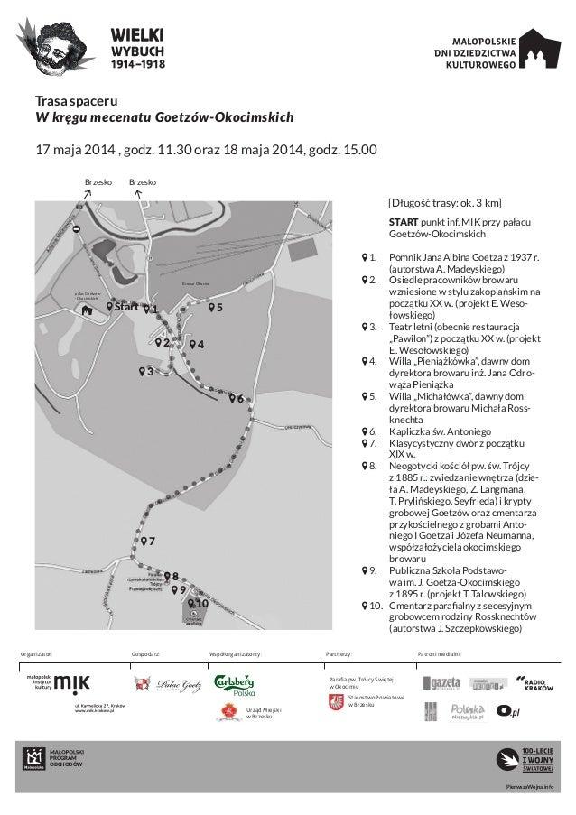 Trasa spaceru W kręgu mecenatu Goetzów-Okocimskich 17 maja 2014 , godz. 11.30 oraz 18 maja 2014, godz. 15.00 PROGRAM OBCHO...