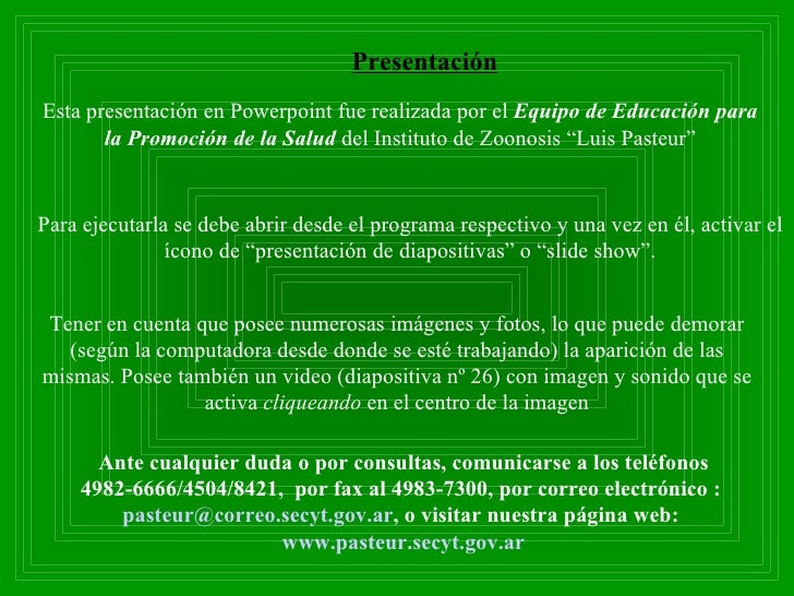 Esta presentación en Powerpoint fue realizada por el  Equipo de Educación para la Promoción de la Salud  del Instituto de ...