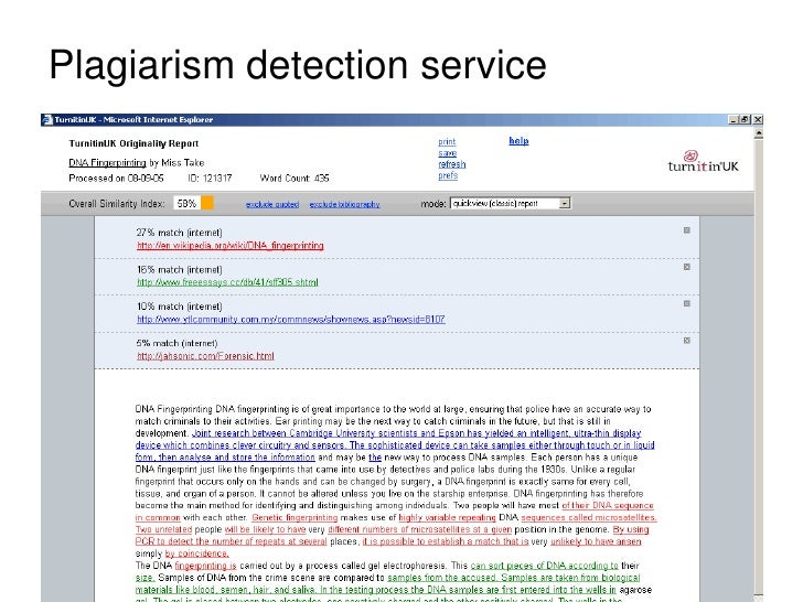 Example of Originality report