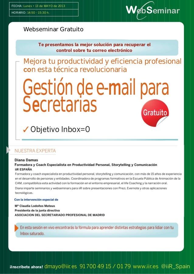 IIR  ORGANIZA GESTION DE E-MAIL PARA SECRETARIAS WEBSEMINAR GRATUITO