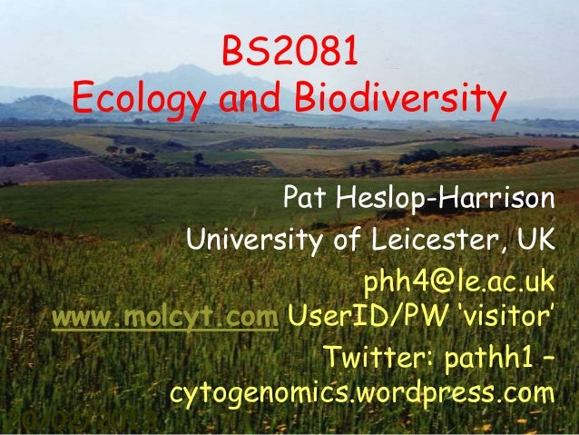 Bs2081 Heslop-Harrison Summary Lecture Ecology and Biodiversity - Agricultural Systems
