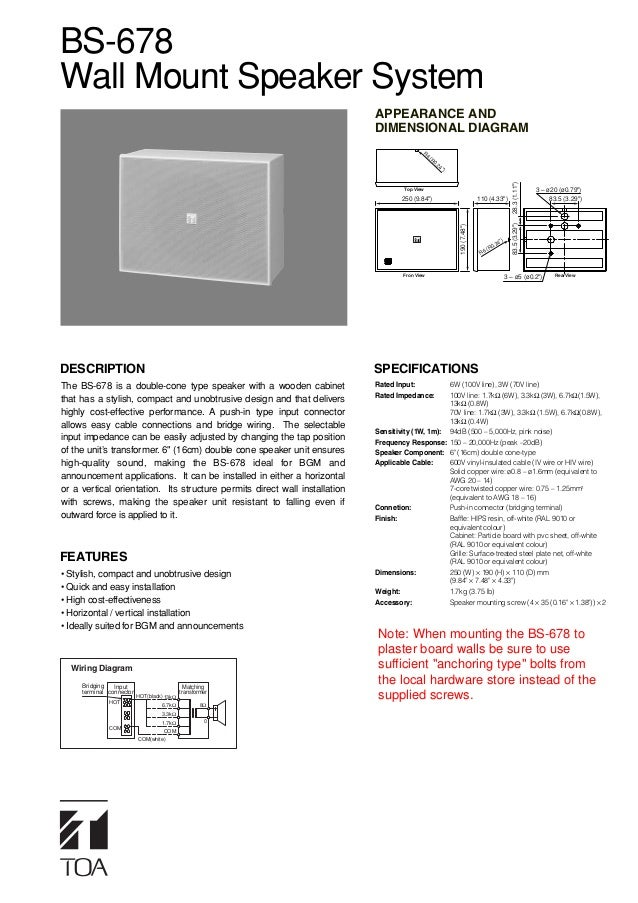 BS-678Wall Mount Speaker System                                                                            APPEARANCE AND ...