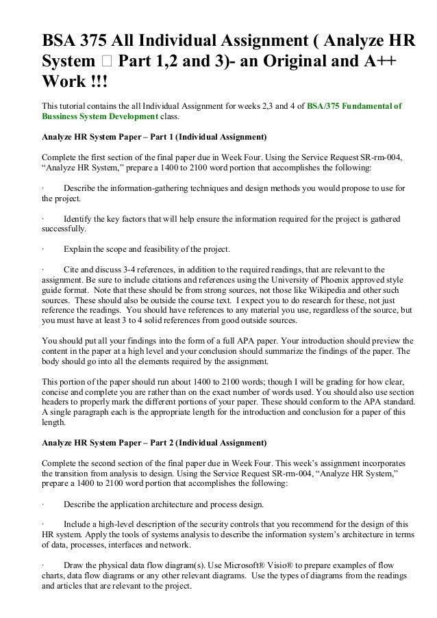 bsa 375 week 1 individual assignment