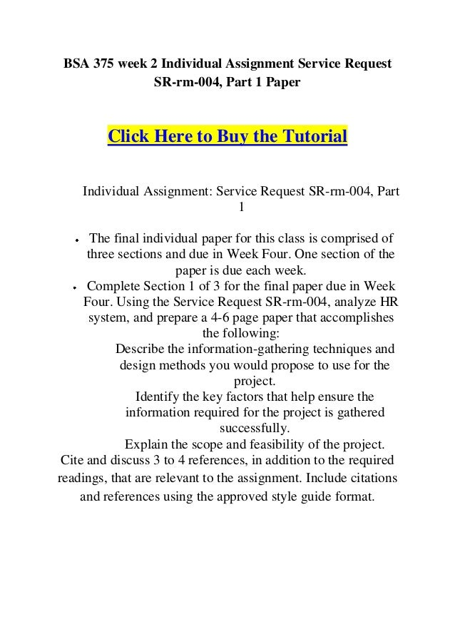 BSA 375 Week 2 Individual Assignment - Service Request Part 1