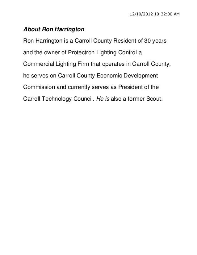 12/10/2012 10:32:00 AMAbout Ron HarringtonRon Harrington is a Carroll County Resident of 30 yearsand the owner of Protectr...