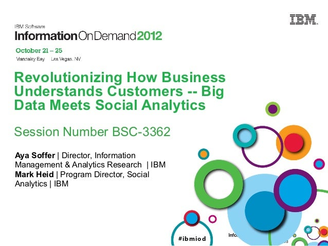 Revolutionizing How BusinessUnderstands Customers -- BigData Meets Social AnalyticsSession Number BSC-3362Aya Soffer   Dir...