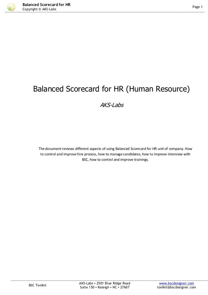 Balanced Scorecard for HR                                                                                 Page 1Copyright ...