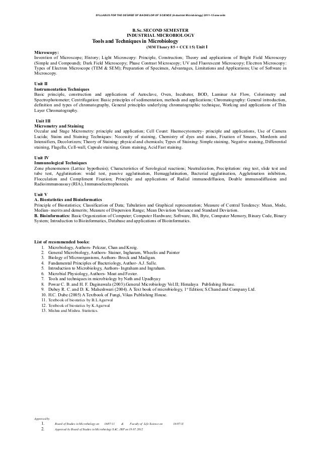 SYLLABUS FOR THE DEGREE OF BACHELOR OF SCIENCE (Industrial Microbiology) 2011-12 onwardsB.Sc. SECOND SEMESTERINDUSTRIAL MI...
