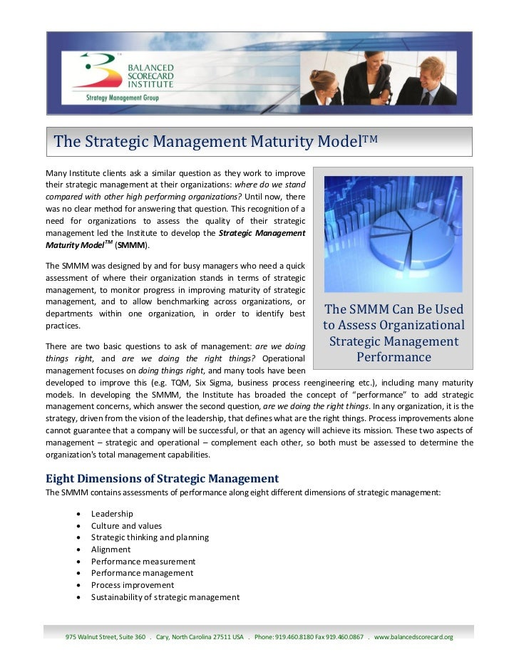 The Strategic Management Maturity ModelTMMany Institute clients ask a similar question as they work to improvetheir strate...