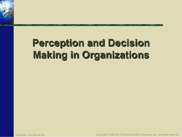 Perception and Decision Making in Organizations  McShane/ Von Glinow 2/e  Copyright © 2003 by The McGraw-Hill Companies, I...