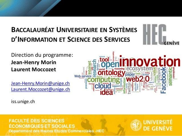 FACULTÉ DES SCIENCES ÉCONOMIQUES ET SOCIALES Département des Hautes Etudes Commerciales -HEC BACCALAURÉAT UNIVERSITAIRE EN...