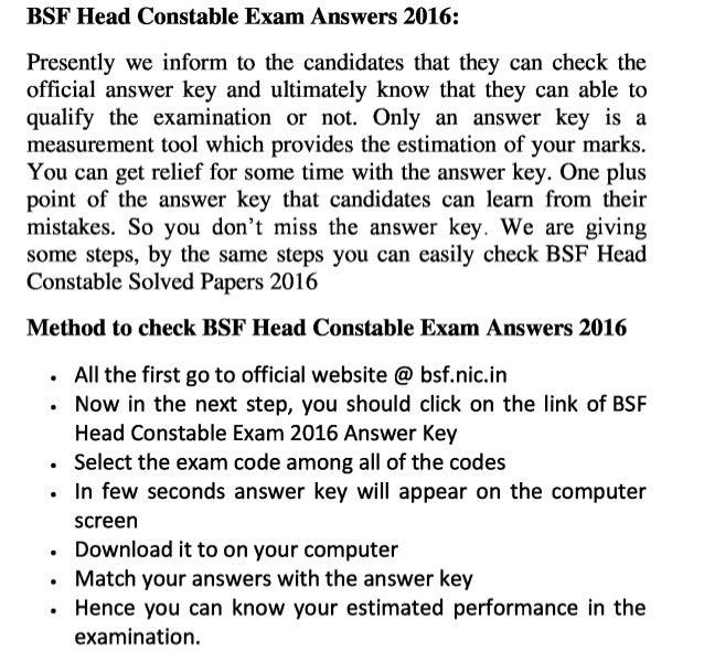 Bsf head constable 2016 exam answer key download head constable job exam solution & result