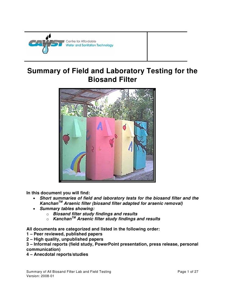 UN;  Summary of Field and Laboratory Testing for the Biosand Filter
