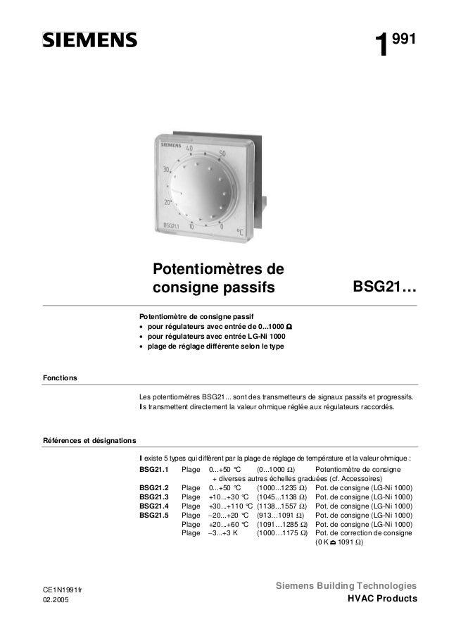 1  Potentiomètres de consigne passifs  991  BSG21…  Potentiomètre de consigne passif • pour régulateurs avec entrée de 0.....