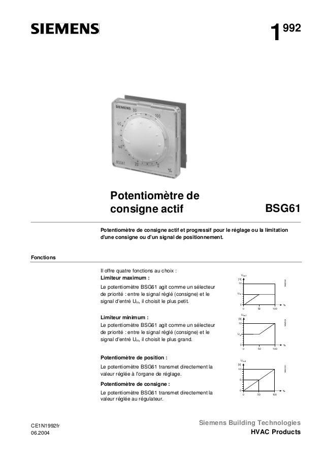 1  992  Potentiomètre de consigne actif  BSG61  Potentiomètre de consigne actif et progressif pour le réglage ou la limita...