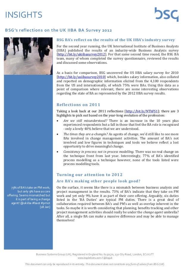 INSIGHTSBSG's reflections on the UK IIBA BA Survey 2012                                         BSG BA's reflect on the re...