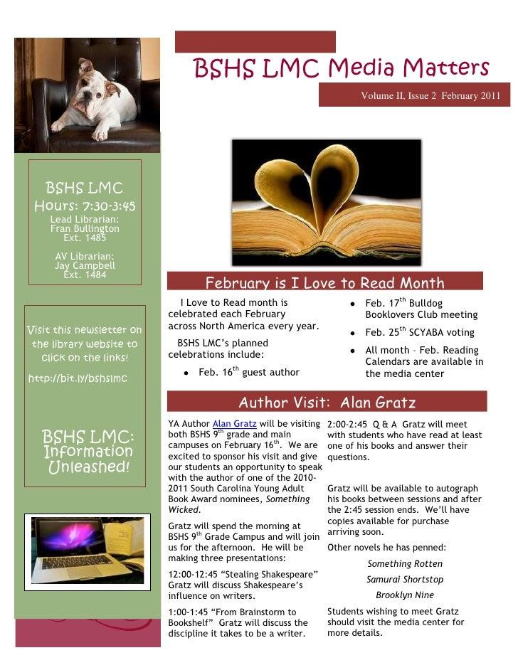 -2061982114300BSHS LMC Media MattersVolume II, Issue 2  February 2011Author Visit:  Alan GratzFebruary is I Love to Read M...