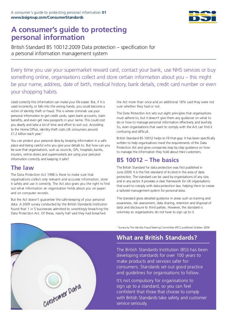 BSI Data Protection Brochure - accessible version - A consumer's guide to protecting personal information