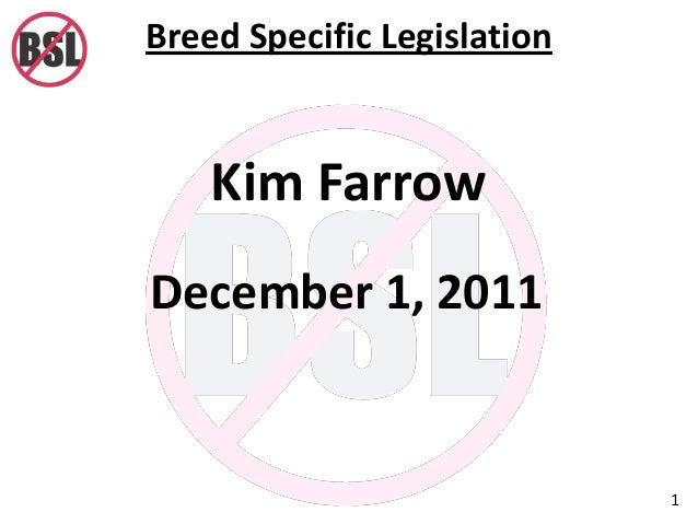 Breed Specific Legislation 1 Kim Farrow December 1, 2011