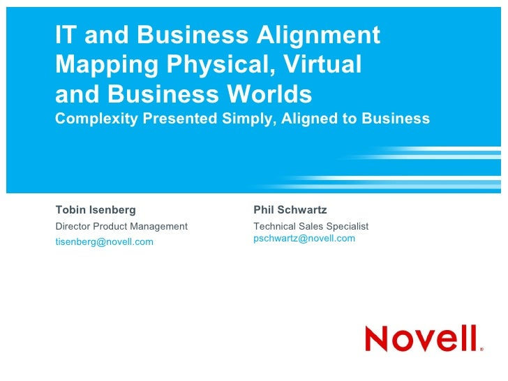 IT and Business Alignment Mapping Physical, Virtual and Business Worlds Complexity Presented Simply, Aligned to Business  ...