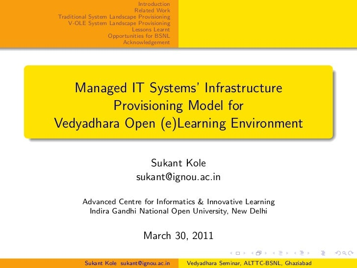 Managed IT Systems Infrastructure for V-OLE