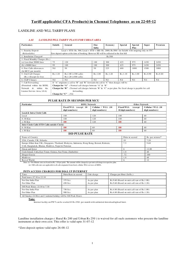 Tariff applicable( CFA Products) in Chennai Telephones as on 22-05-12LANDLINE AND WLL TARIFF PLANS           A.01         ...