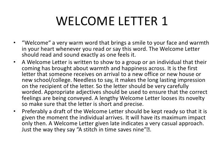How to write welcome letter choice image letter format formal sample how to write a welcome letter to a guest gallery letter format how to write a expocarfo Image collections