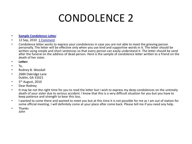 How to write a formal condolence letter