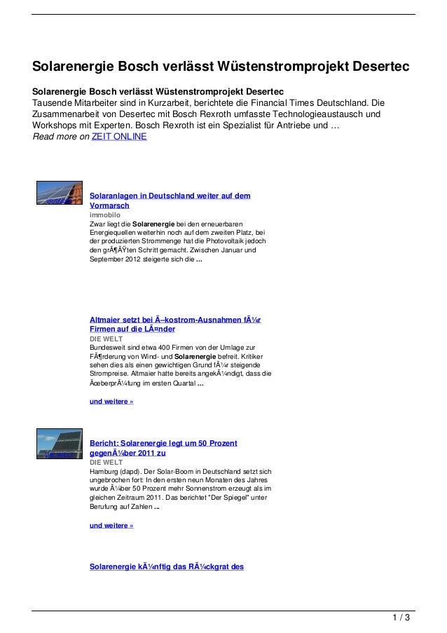 Solarenergie Bosch verlässt Wüstenstromprojekt DesertecSolarenergie Bosch verlässt Wüstenstromprojekt DesertecTausende Mit...