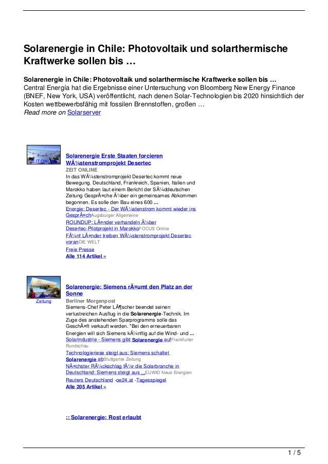 Solarenergie in Chile: Photovoltaik und solarthermischeKraftwerke sollen bis …Solarenergie in Chile: Photovoltaik und sola...