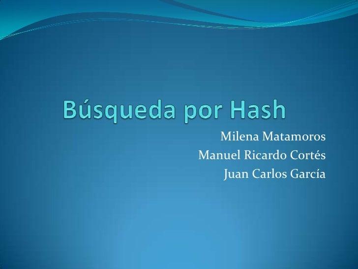 Milena Matamoros Manuel Ricardo Cortés    Juan Carlos García