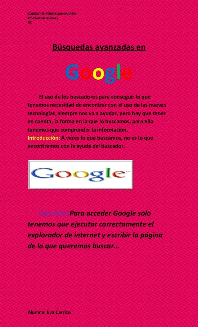 Búsquedas avanzadas en google este ahi que mostrar