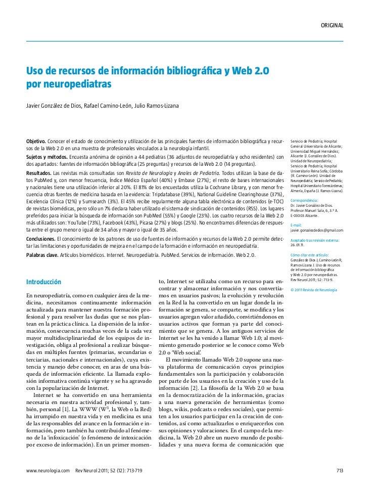 ORIGINALUso de recursos de información bibliográfica y Web 2.0por neuropediatrasJavier González de Dios, Rafael Camino-Leó...