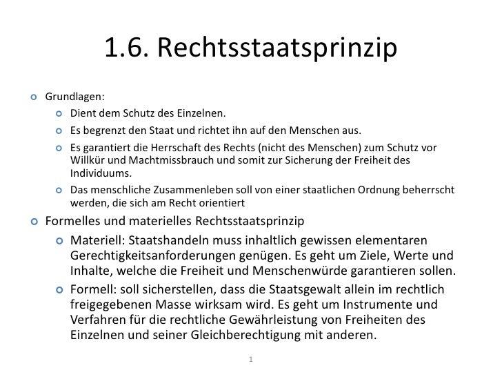 1.6. Rechtsstaatsprinzip<br />1<br /><ul><li>Grundlagen: