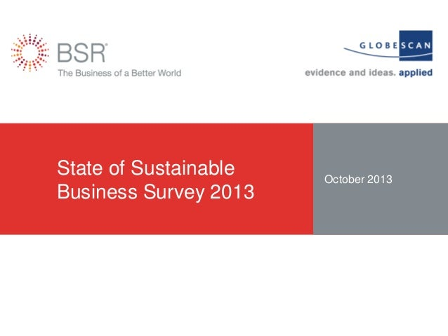 State of Sustainable Business Survey 2013  October 2013
