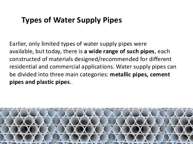 Types of pipes for Types of plumbing pipes