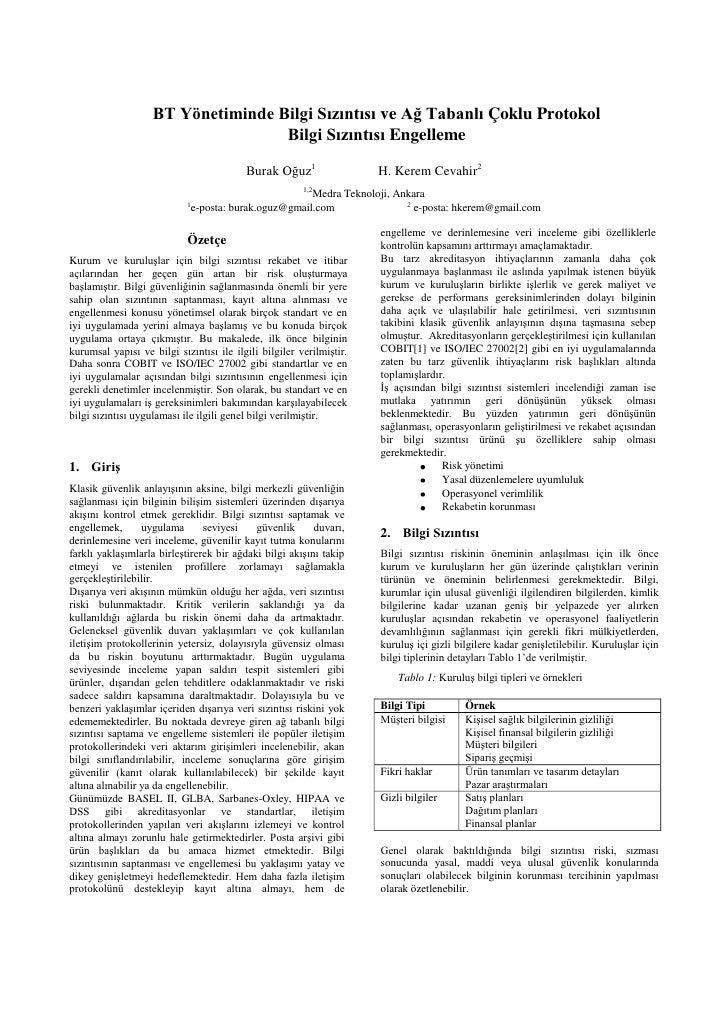 BT Yönetiminde Bilgi Sızıntısı ve Ağ Tabanlı Çoklu Protokol                                     Bilgi Sızıntısı Engelleme ...